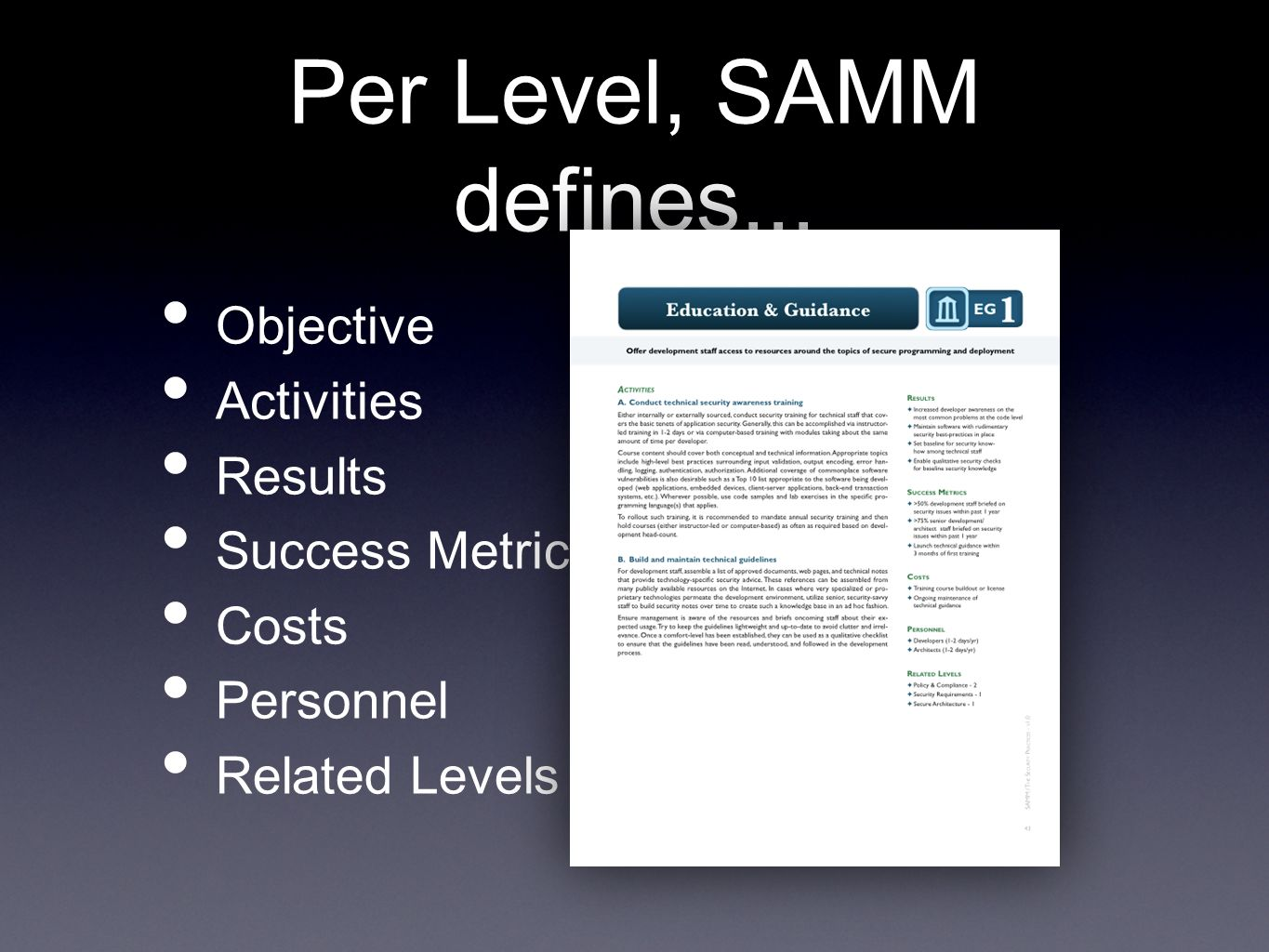 Per Level, SAMM defines... Objective Activities Results