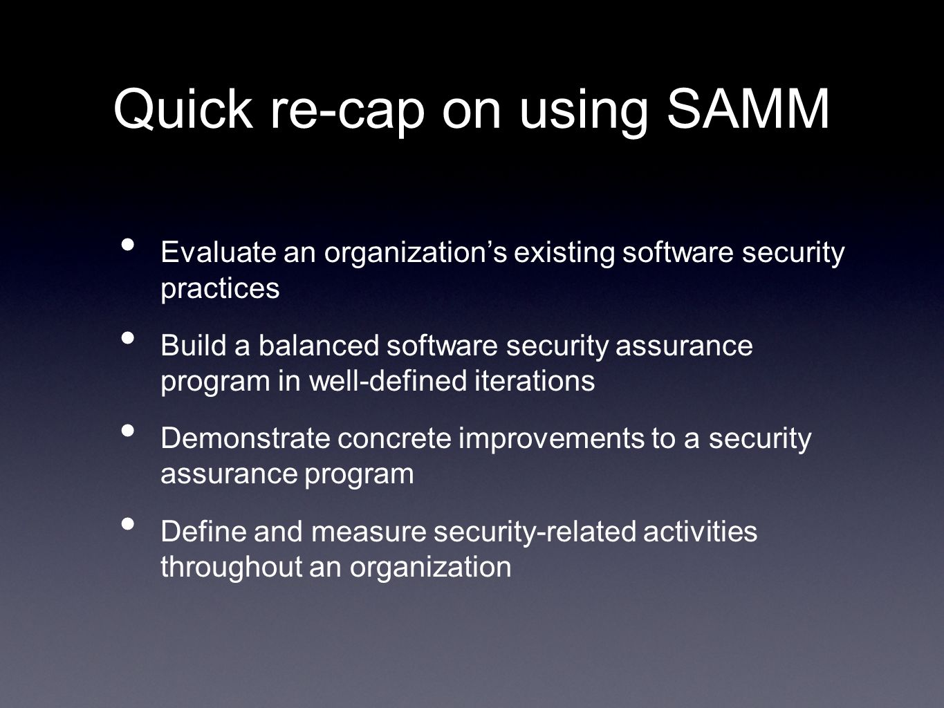 Quick re-cap on using SAMM