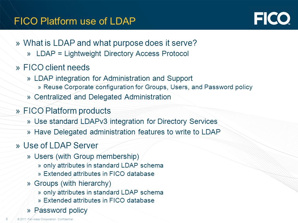 FICO Platform use of LDAP