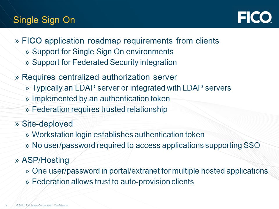 Single Sign On FICO application roadmap requirements from clients
