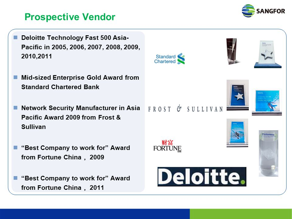 Prospective Vendor Deloitte Technology Fast 500 Asia-Pacific in 2005, 2006, 2007, 2008, 2009, 2010,2011.