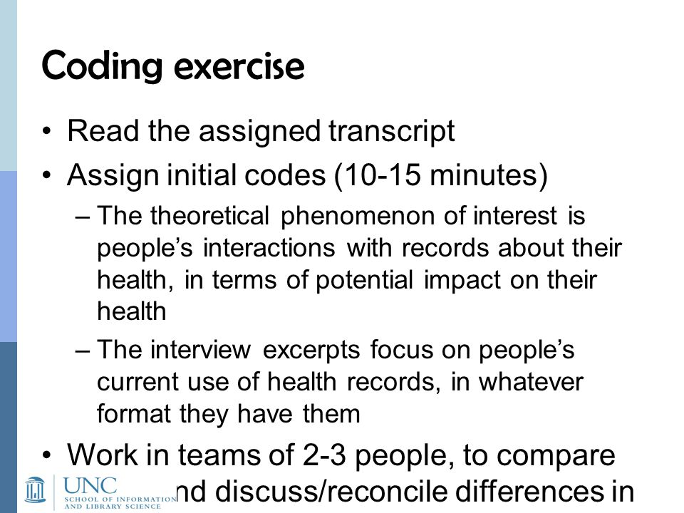 Coding exercise Read the assigned transcript