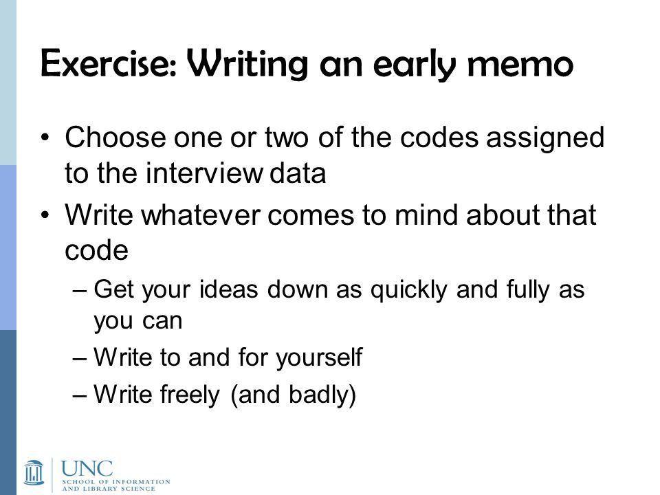 Exercise: Writing an early memo