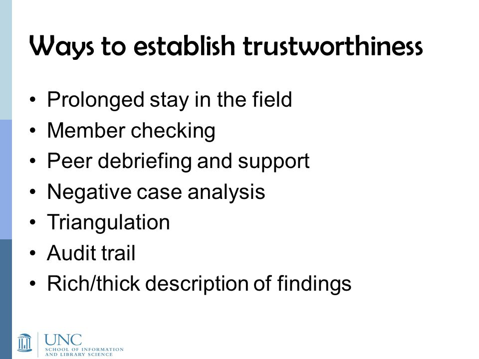 Ways to establish trustworthiness