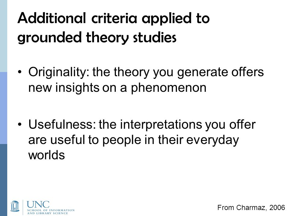 Additional criteria applied to grounded theory studies