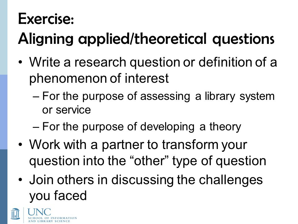 Exercise: Aligning applied/theoretical questions