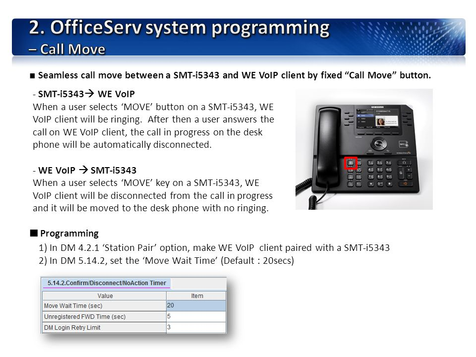 2. OfficeServ system programming – Call Move