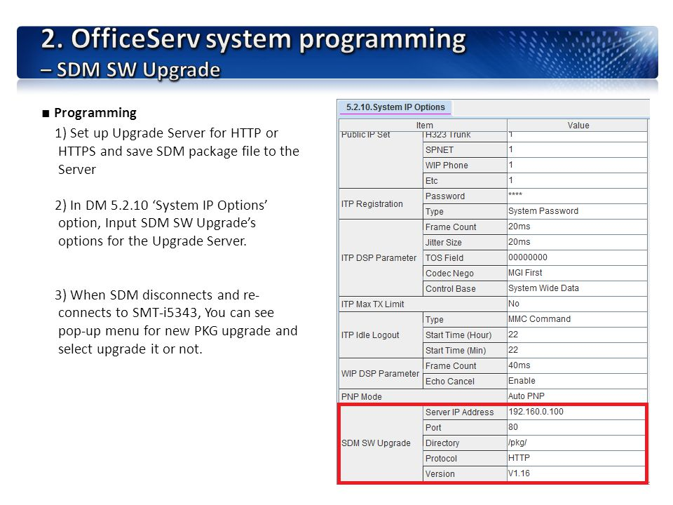 2. OfficeServ system programming – SDM SW Upgrade