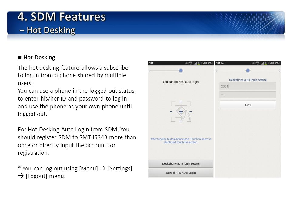 4. SDM Features – Hot Desking