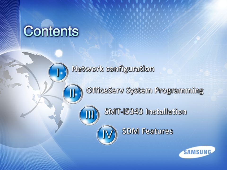 Network configuration OfficeServ System Programming