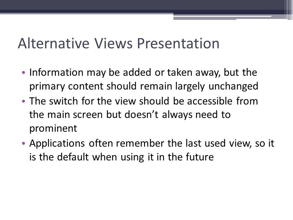 Alternative Views Presentation
