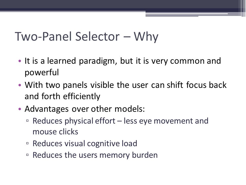 Two-Panel Selector – Why