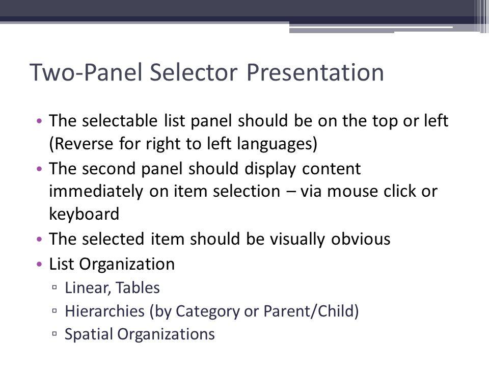 Two-Panel Selector Presentation
