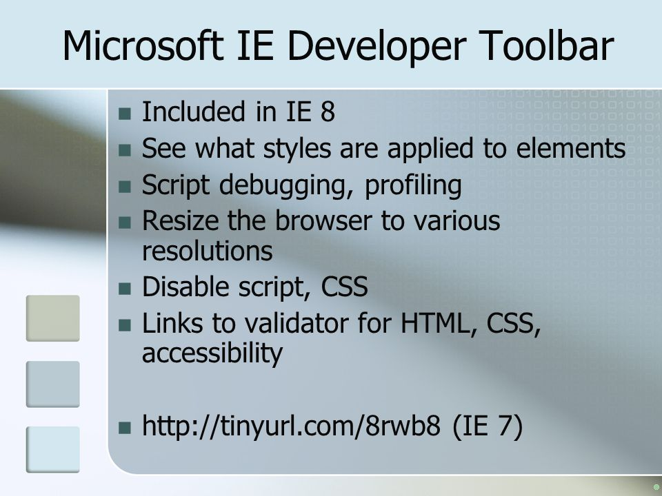 Microsoft IE Developer Toolbar