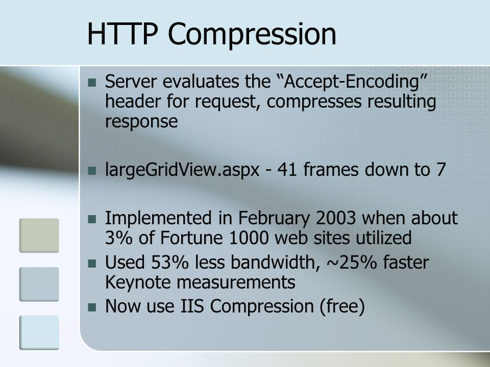 HTTP Compression Server evaluates the Accept-Encoding header for request, compresses resulting response.