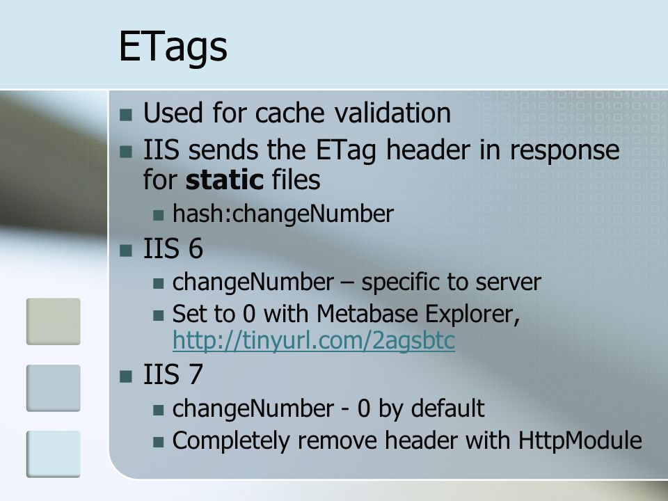 ETags Used for cache validation
