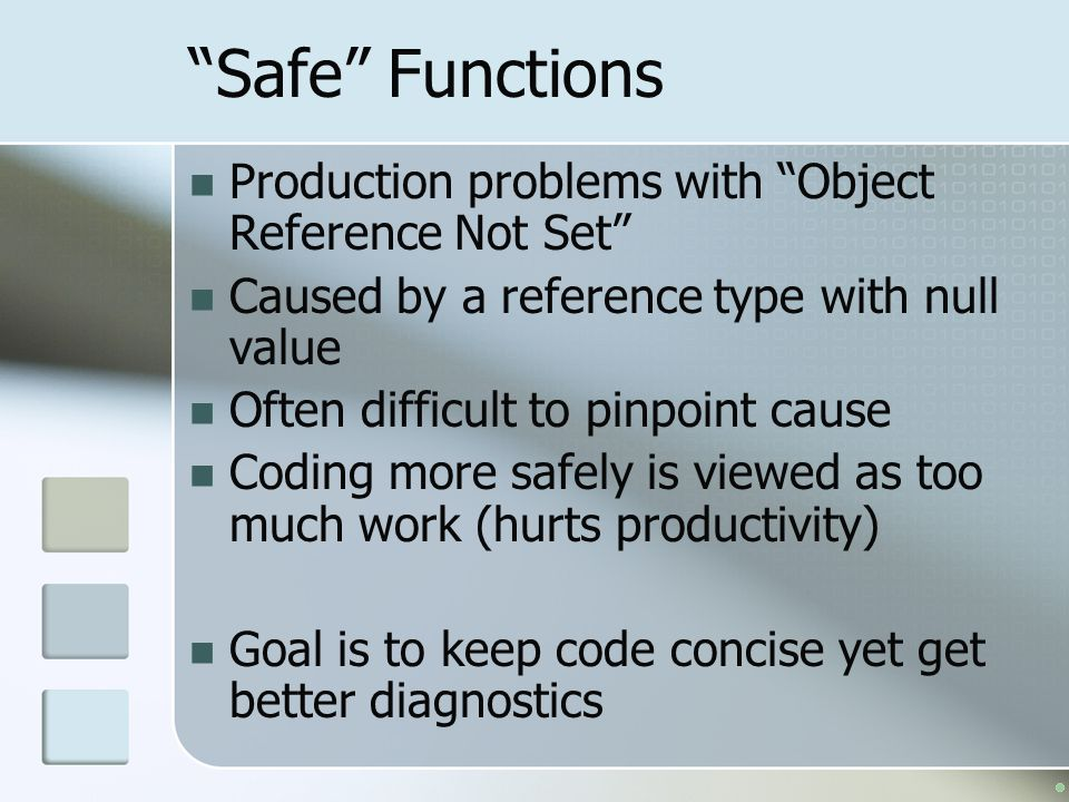 Safe Functions Production problems with Object Reference Not Set