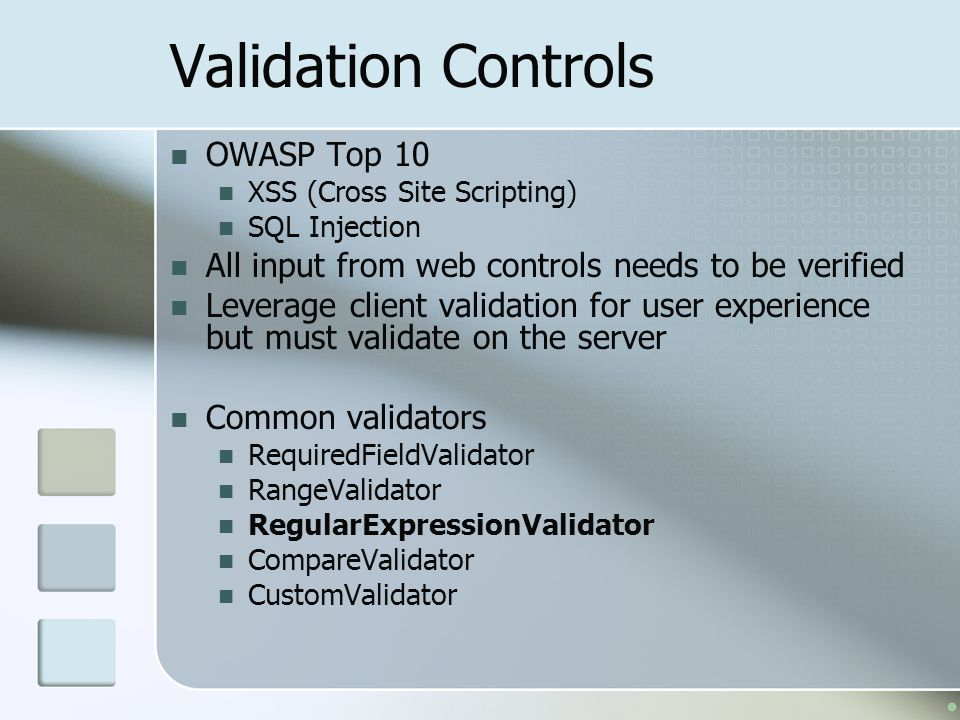Validation Controls OWASP Top 10