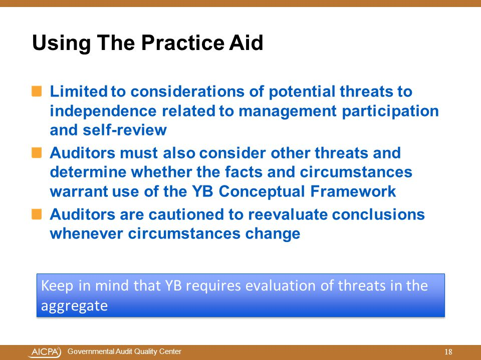 Using The Practice Aid Limited to considerations of potential threats to independence related to management participation and self-review.