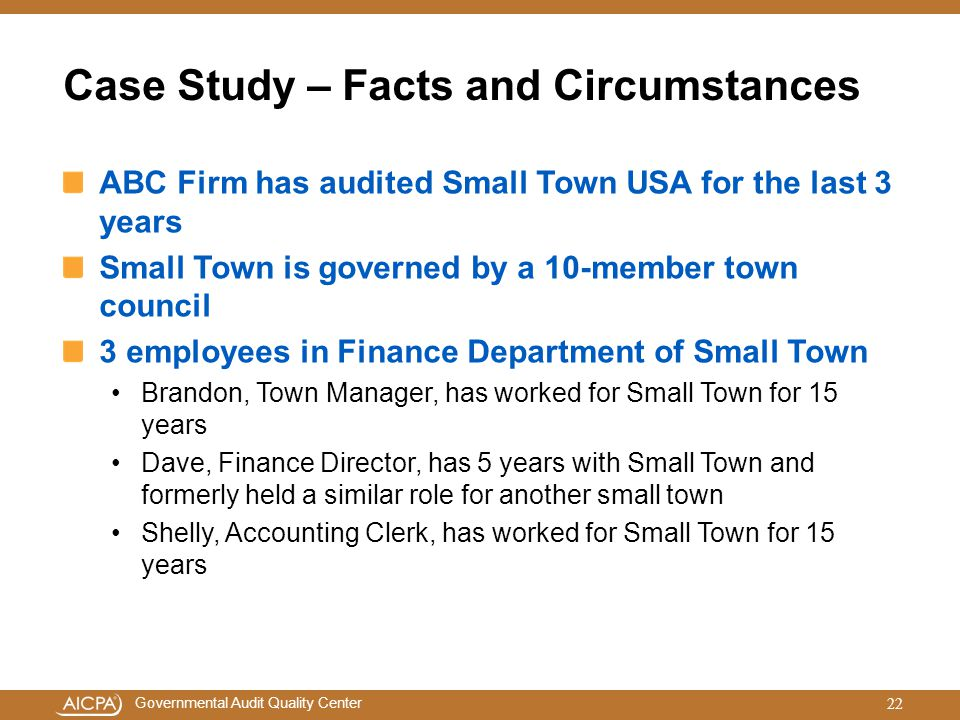 Case Study – Facts and Circumstances