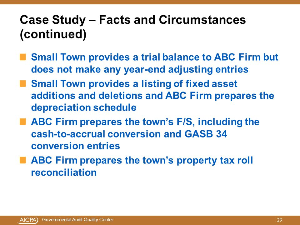 Case Study – Facts and Circumstances (continued)