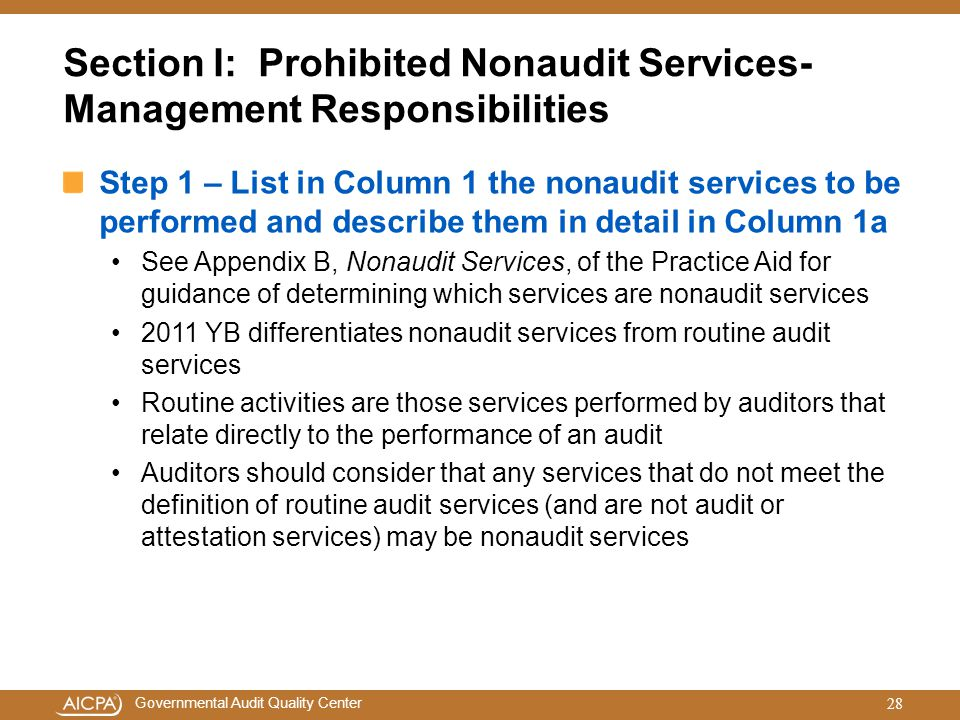 Section I: Prohibited Nonaudit Services-Management Responsibilities