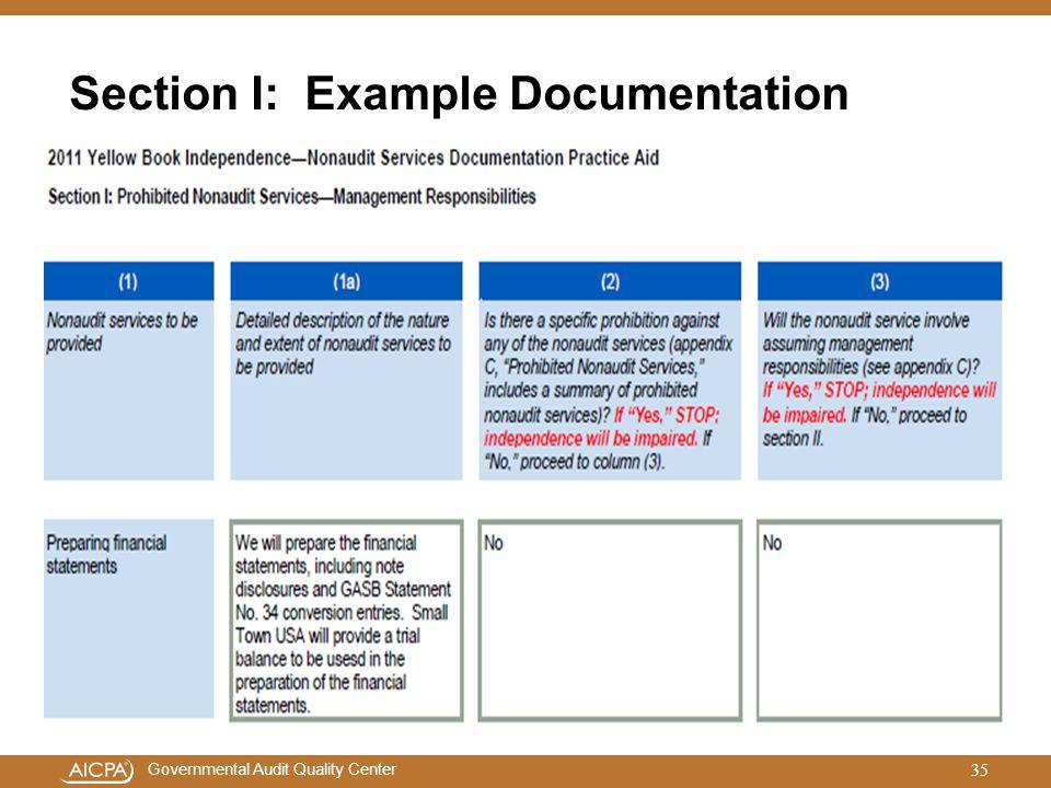 Section I: Example Documentation