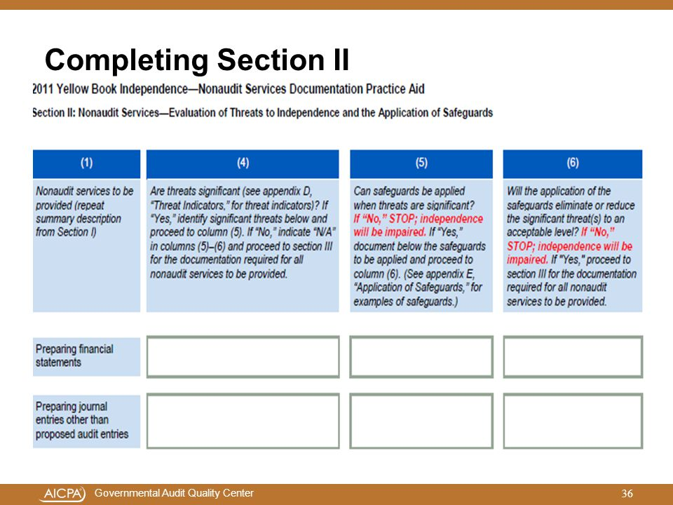 Completing Section II