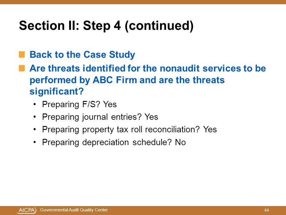 Section II: Step 4 (continued)
