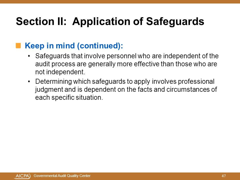 Section II: Application of Safeguards
