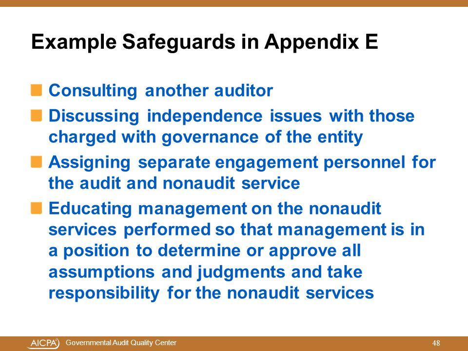Example Safeguards in Appendix E