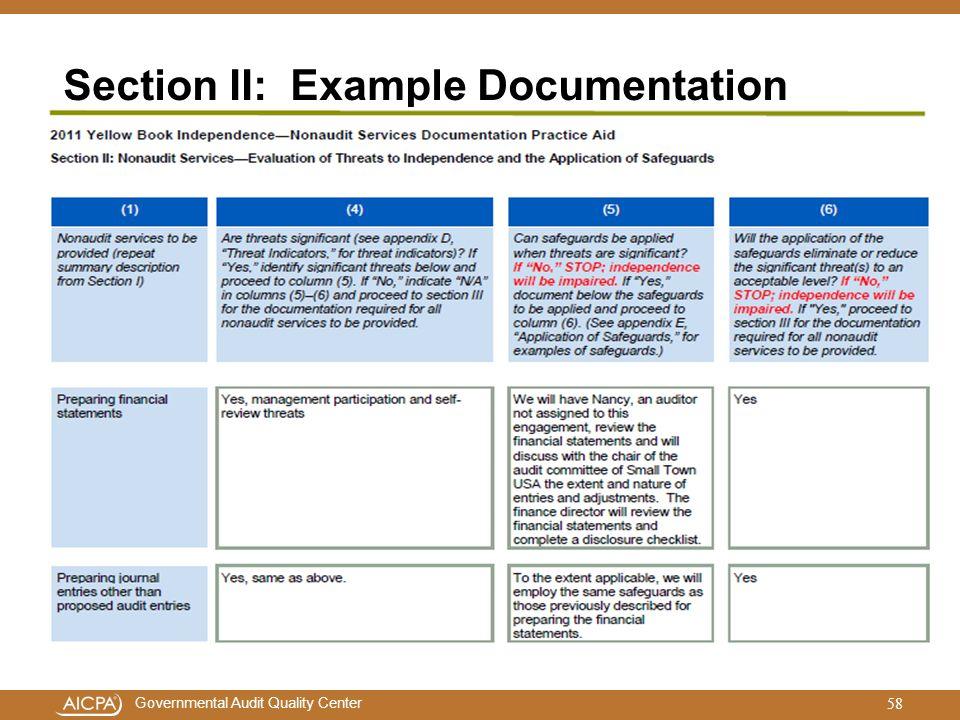 Section II: Example Documentation