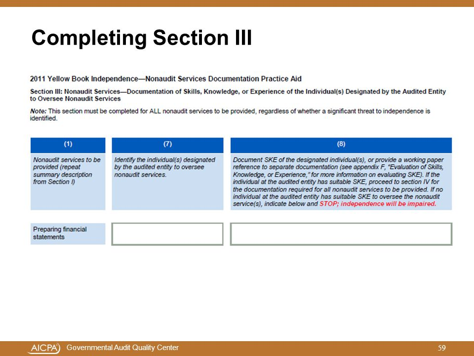 Completing Section III