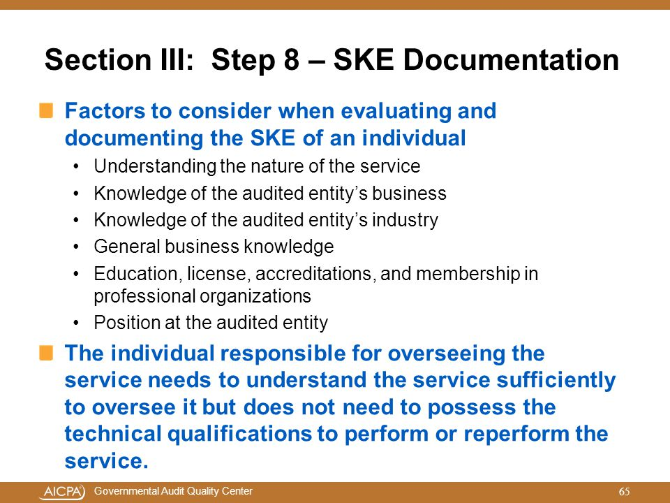 Section III: Step 8 – SKE Documentation