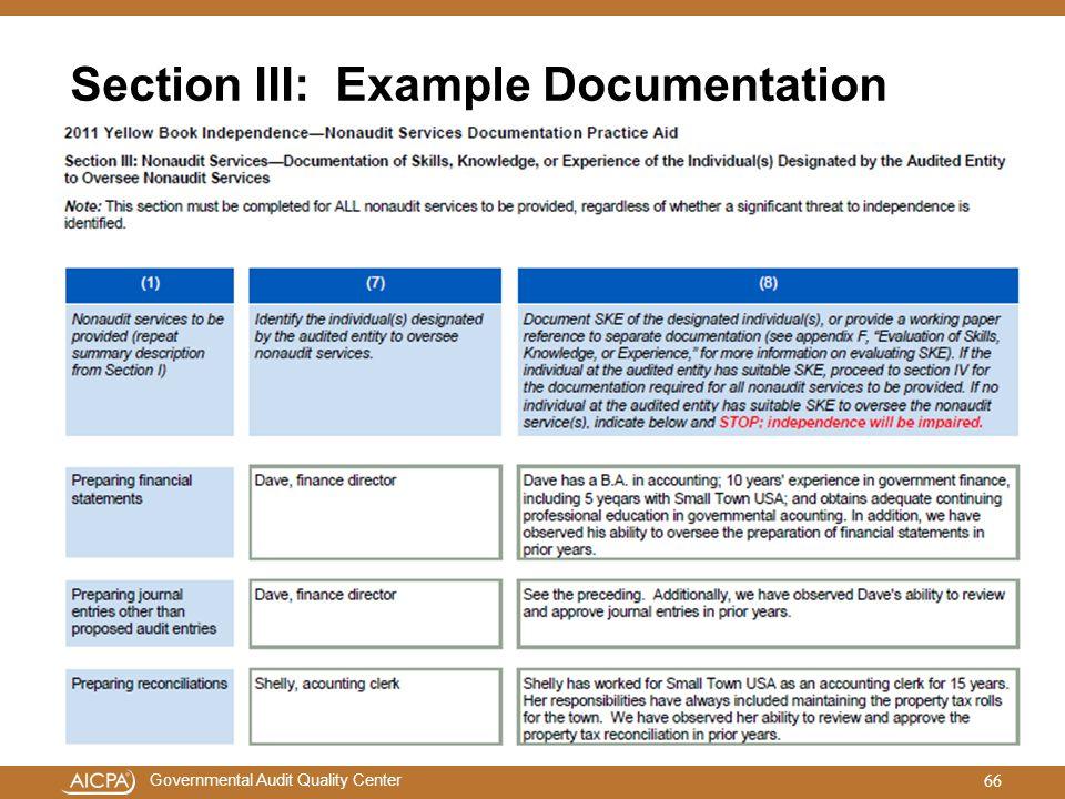 Section III: Example Documentation