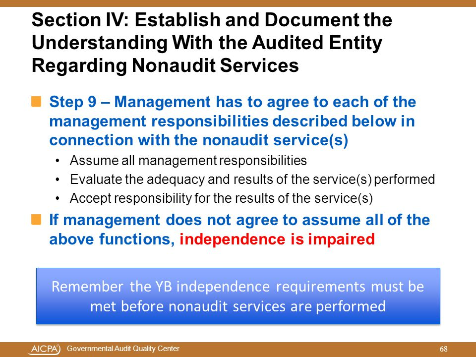 Section IV: Establish and Document the Understanding With the Audited Entity Regarding Nonaudit Services