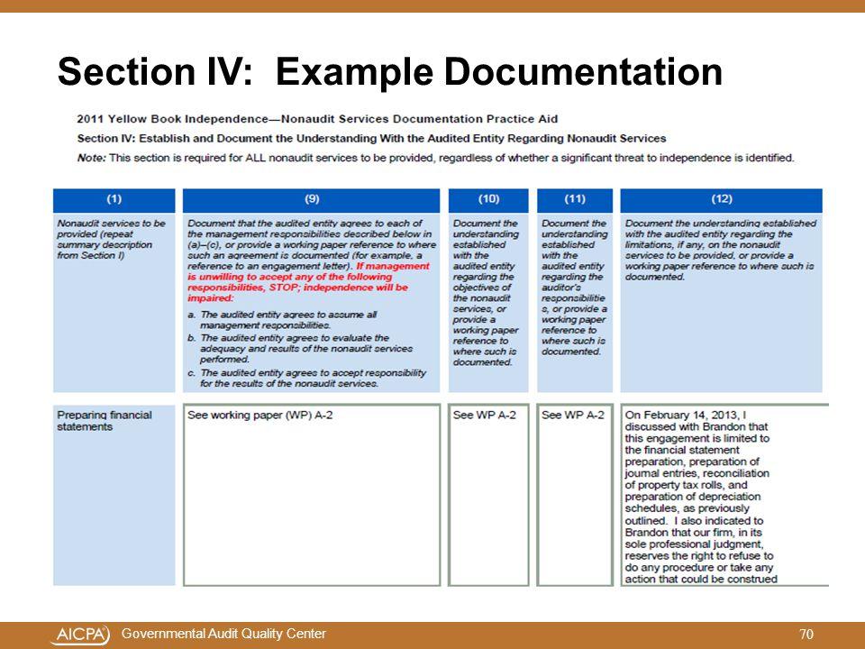 Section IV: Example Documentation