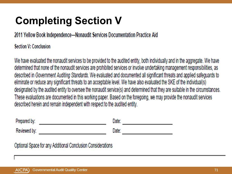 Completing Section V