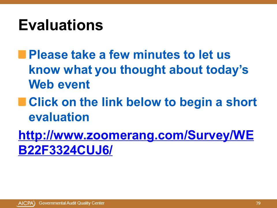 Evaluations http://www.zoomerang.com/Survey/WEB22F3324CUJ6/