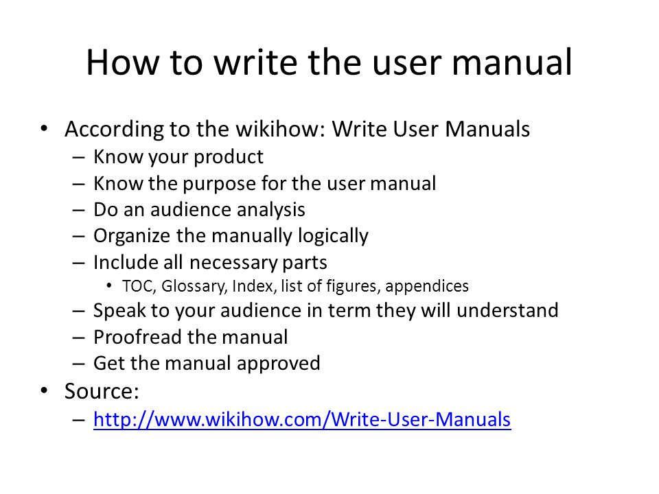 How to write the user manual