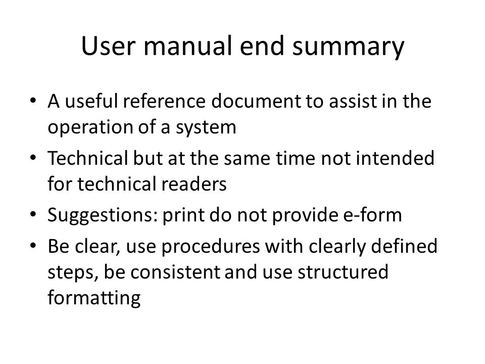 User manual end summary