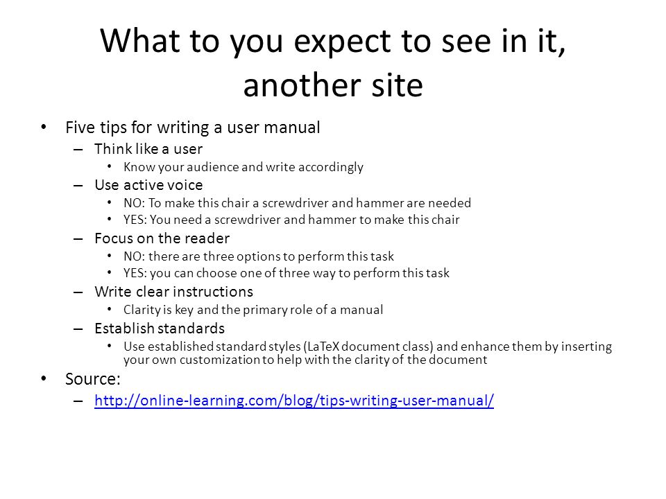 how to write a user manual for a website