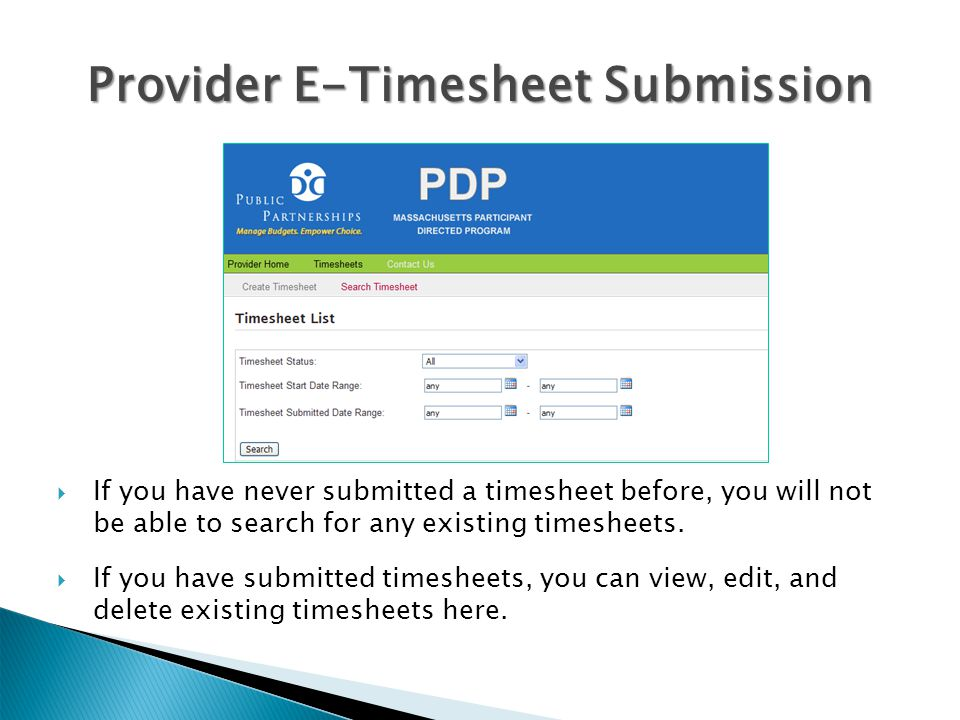 Provider E-Timesheet Submission