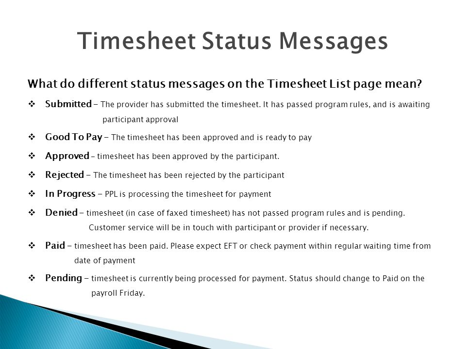 Timesheet Status Messages