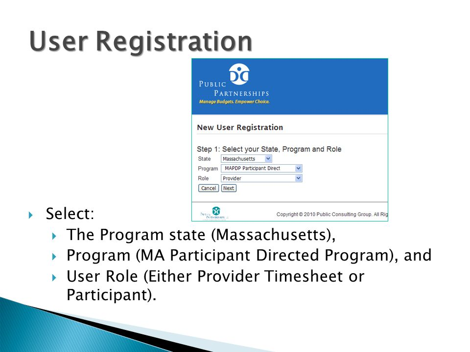 User Registration Select: The Program state (Massachusetts),