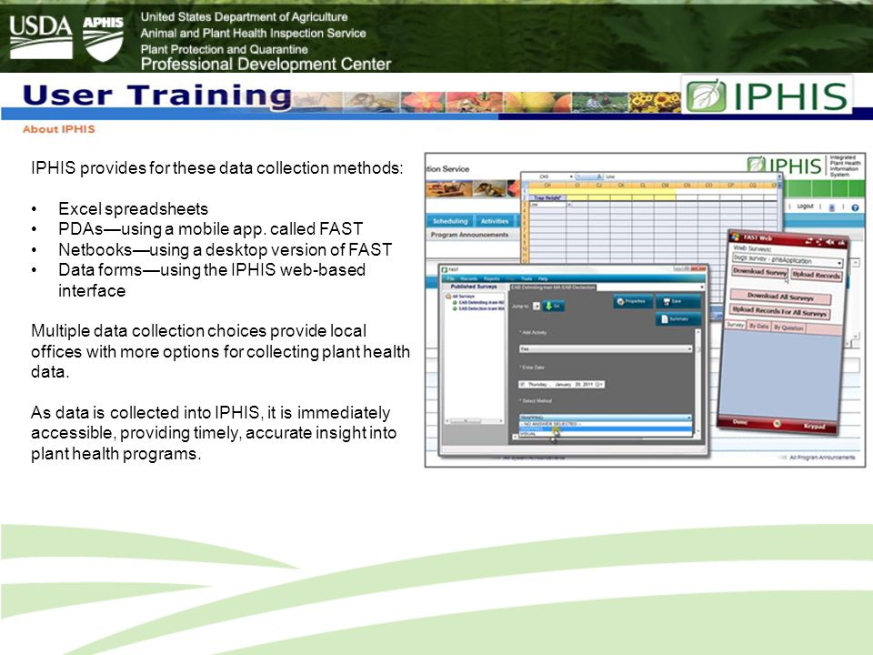 IPHIS provides for these data collection methods: Excel spreadsheets