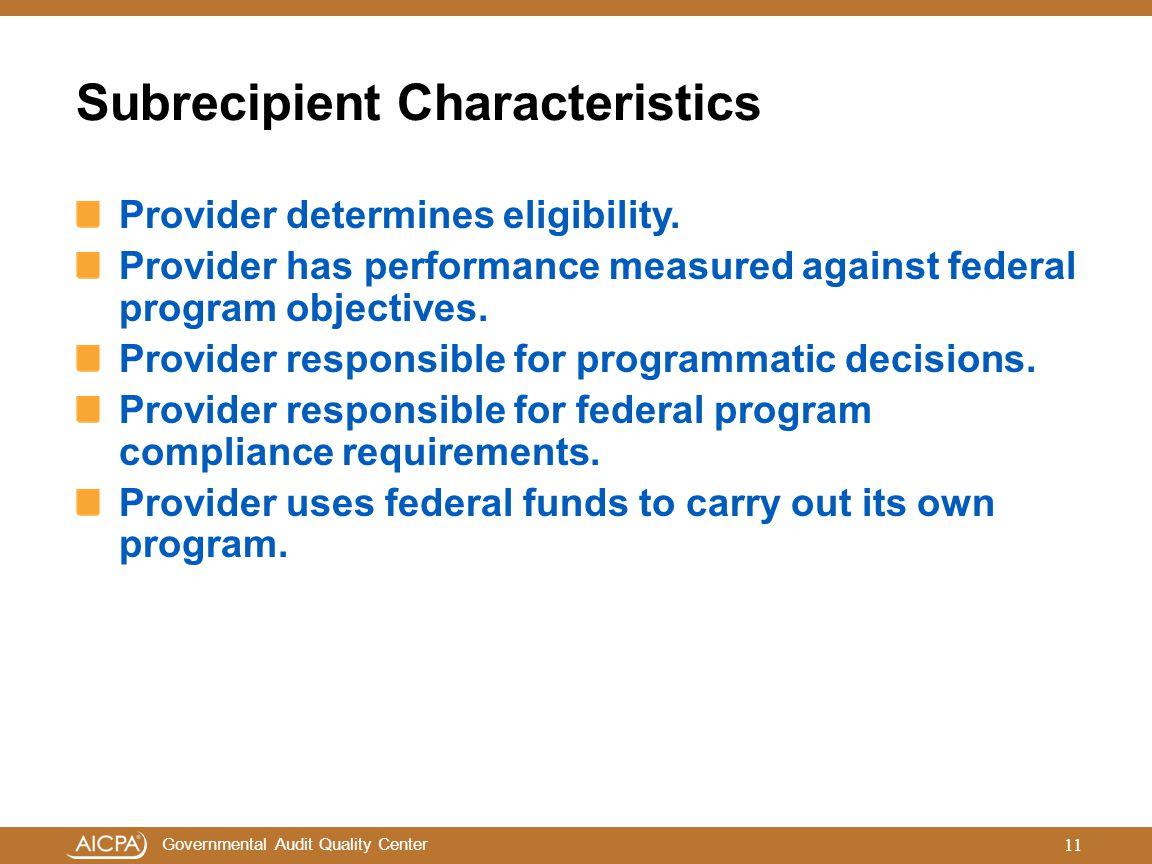 Subrecipient Characteristics