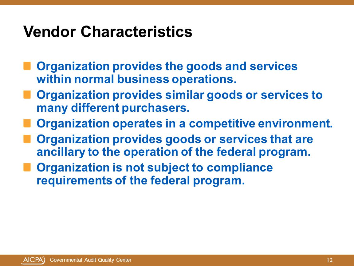 Vendor Characteristics