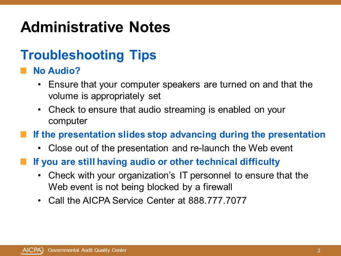 Administrative Notes Troubleshooting Tips No Audio