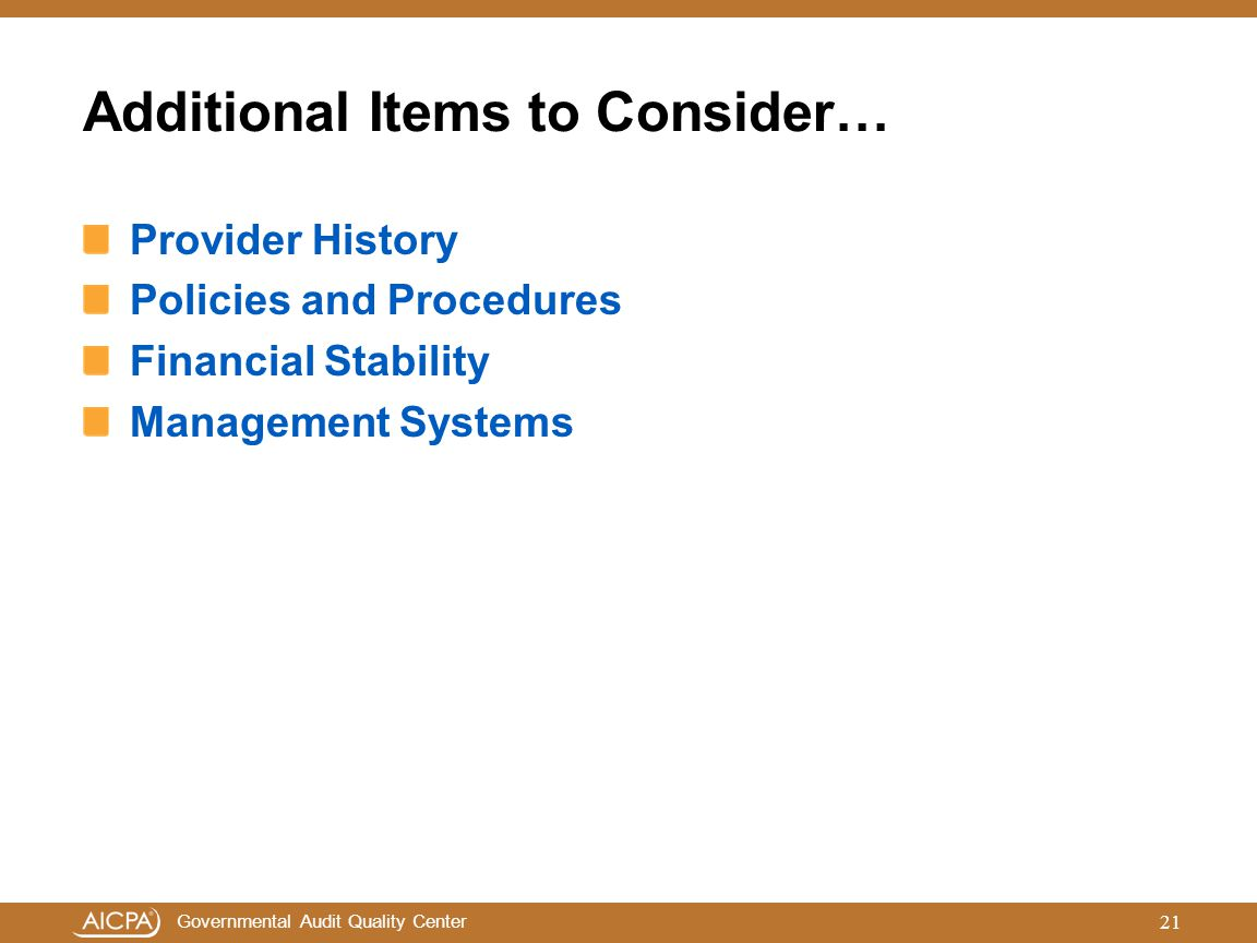 Additional Items to Consider…